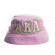 Alpha Kappa Alpha Floppy Bucket Hat with Organization Name, Pink (SAV)