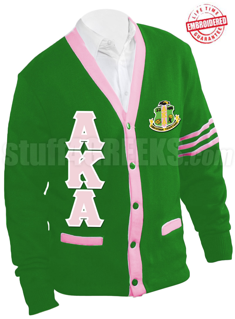 Alpha Kappa Alpha Greek Letter Cardigan with Crest and Pink ...