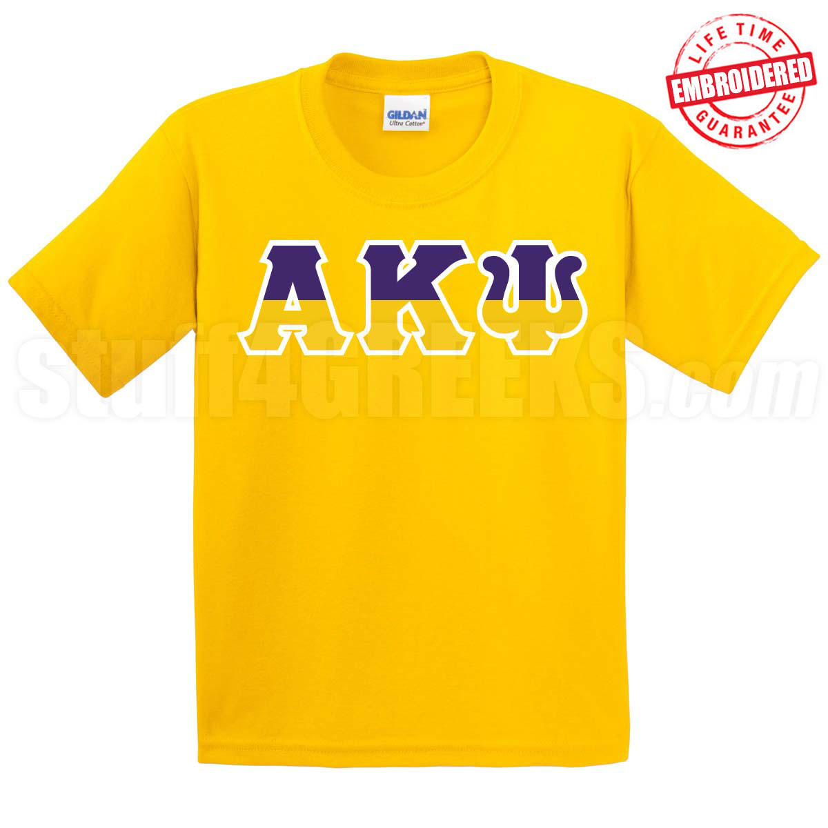 Alpha kappa psi half letters t shirt gold embroidered