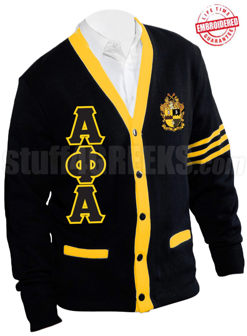 Alpha Phi Alpha Greek Letter Cardigan with Crest and Gold Stripes ...