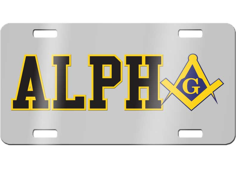 Alpha Phi Alpha License Plate with Mason Square and Compass on ...
