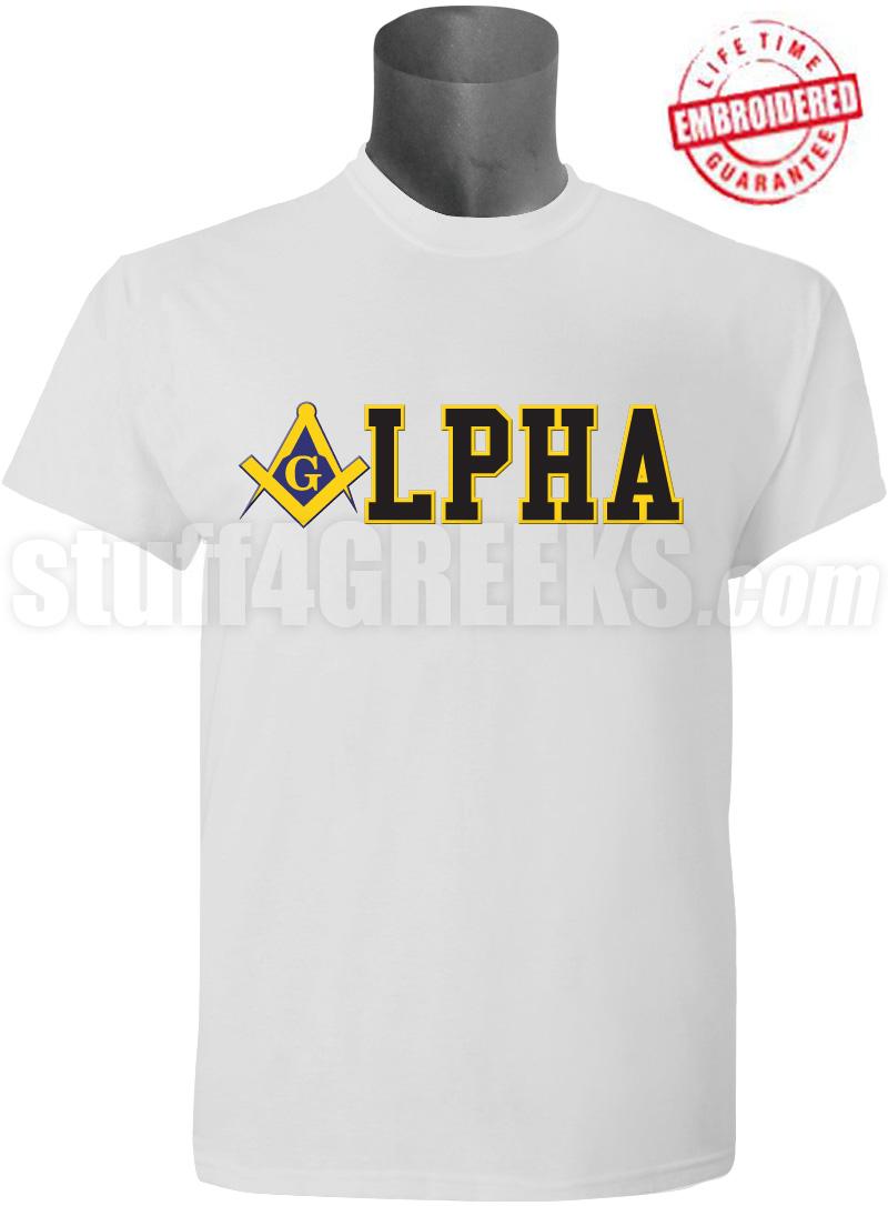 Alpha Phi Alpha/Mason Square and Compass T-Shirt, White ...