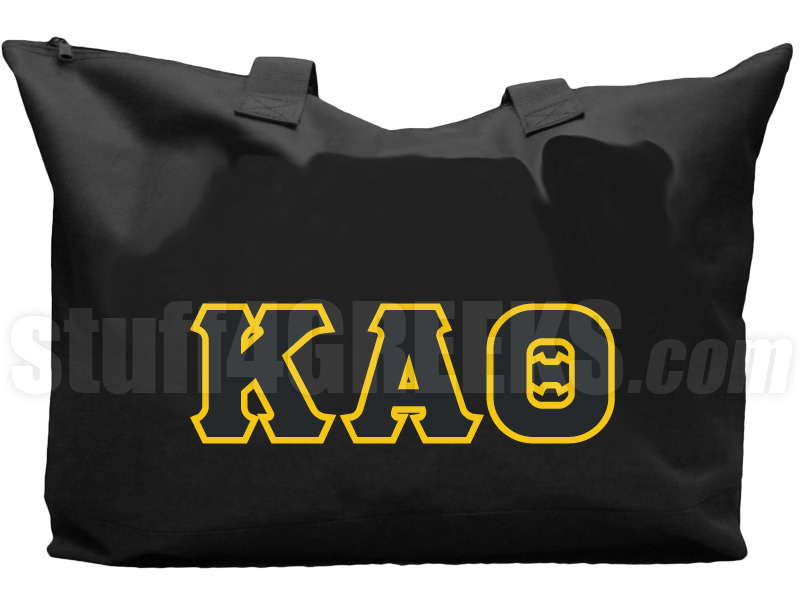 kappa alpha theta tote bag with greek letters black zoom