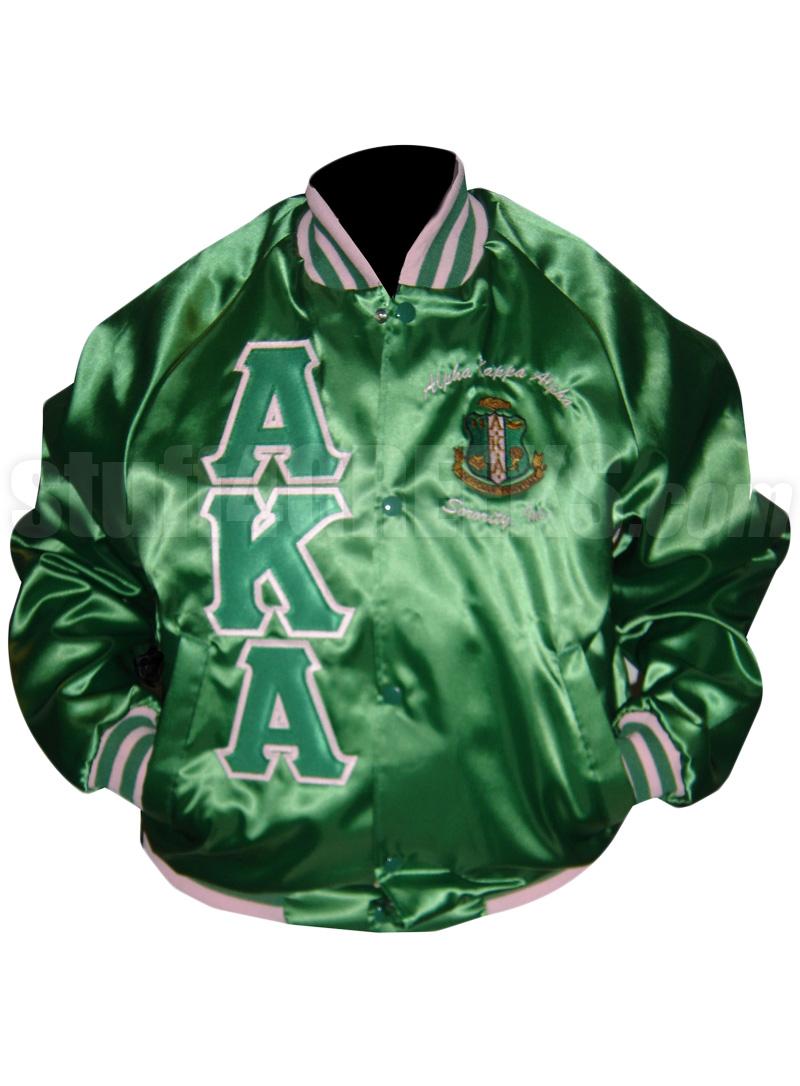 Kelly Green Alpha Kappa Alpha Nylon Oxford Baseball Jacket with ...