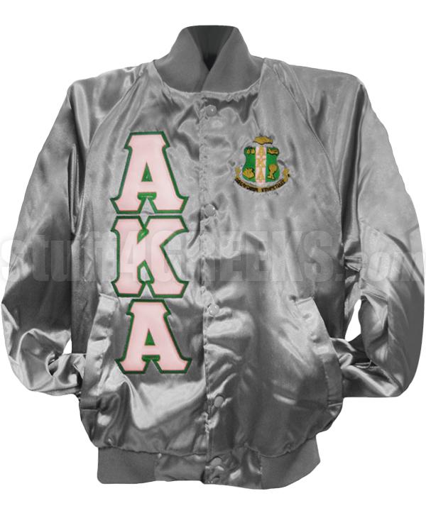 Alpha Kappa Alpha Greek Letter Satin Baseball Jacket with Crest, Gray