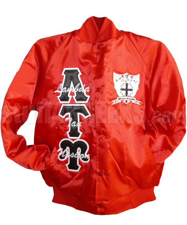 Lambda Tau Upsilon Crest Satin Baseball Jacket with Name Thru