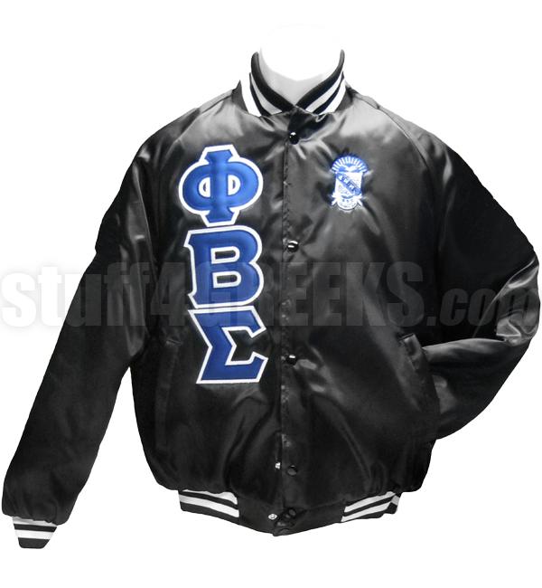 Phi Beta Sigma Greek Letter Satin Baseball Jacket with Crest, Black