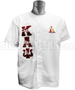 Kappa Alpha Psi Greek Letter Baseball Jersey with Letters Thru and Crest, White