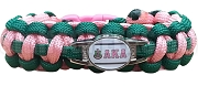 Alpha Kappa Alpha Braided Sports Bracelet, Hunter Green/Pink