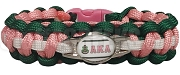Alpha Kappa Alpha Braided Sports Bracelet, Pink/Hunter Green/White