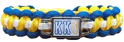 Kappa Kappa Psi Greek Letter Braided Sports Bracelet, Blue/Yellow/White