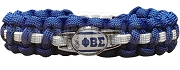 Phi Beta Sigma Braided Sports Bracelet, White/Royal Blue