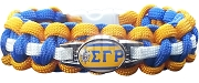 Sigma Gamma Rho Braided Sports Bracelet, Royal Blue/Gold/White