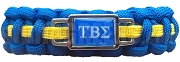 Tau Beta Sigma Greek Letter Braided Sports Bracelet, Blue/Yellow