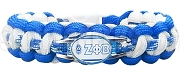 Zeta Phi Beta Braided Sports Bracelet, White/Royal Blue