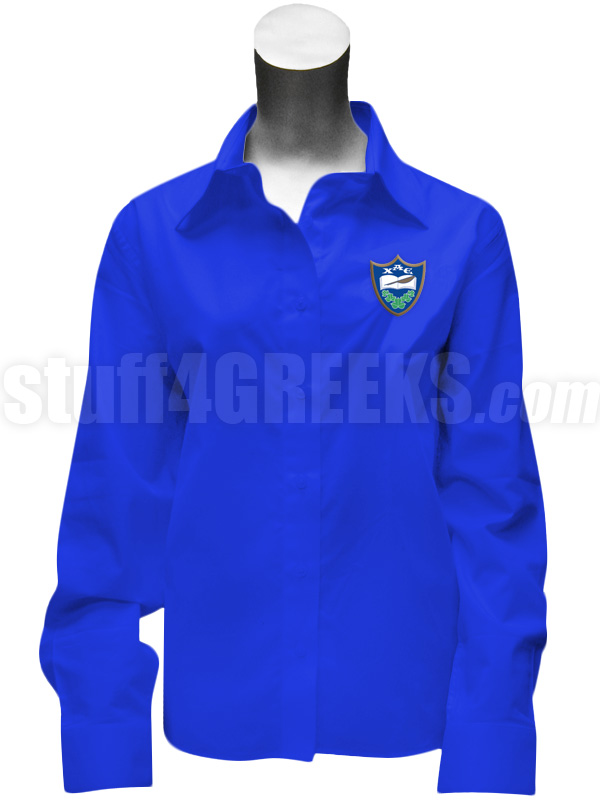 Chi Alpha Epsilon Ladies' Button Down Shirt with Crest, Royal Blue
