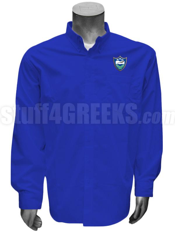 Chi Alpha Epsilon Men's Button Down Shirt with Crest, Royal Blue