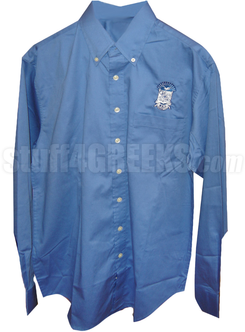 Phi Beta Sigma Crest Button Down Shirt, Royal Blue