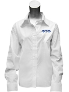 Phi Tau Phi Ladies Button Down Shirt with Greek Letters, White