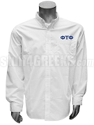 Phi Tau Phi Men's Button Down Shirt with Greek Letters, White
