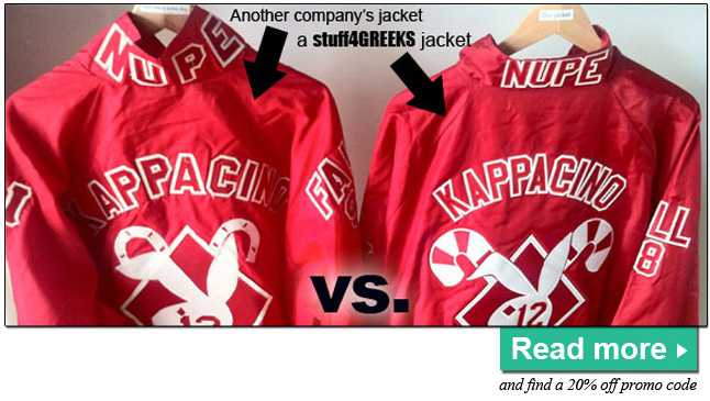 Compare the quality between a stuff4GREEKS line jacket and a line jacket made by another Greek store.