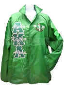 Alpha Kappa Alpha 1908 Crest Line Jacket with Letter Thru Greek Letters, Kelly Green