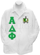 Alpha Delta Phi Line Jacket with Letters and Crest, White