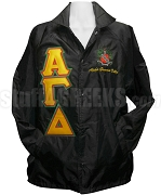 alpha gamma delta triple greek letter line jacket with crest black