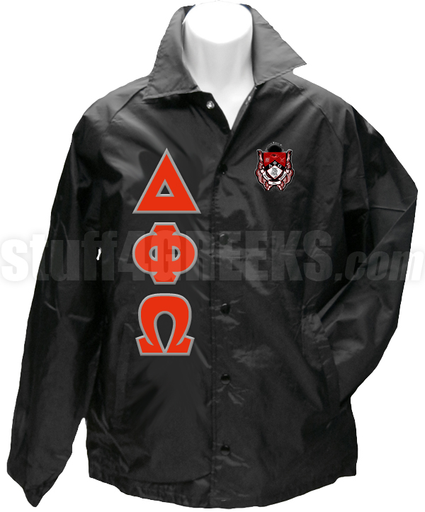 Delta Phi Omega Greek Letter Line Jacket with Crest, Black