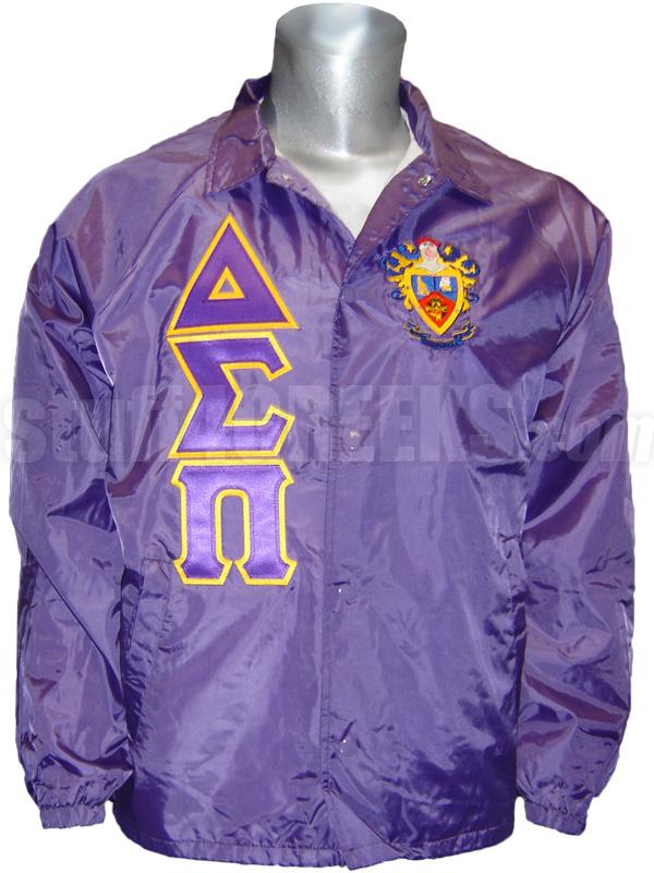 delta sigma pi greek letter line jacket with crest  purple