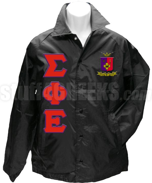 sigma phi epsilon greek letter line jacket with crest black zoom