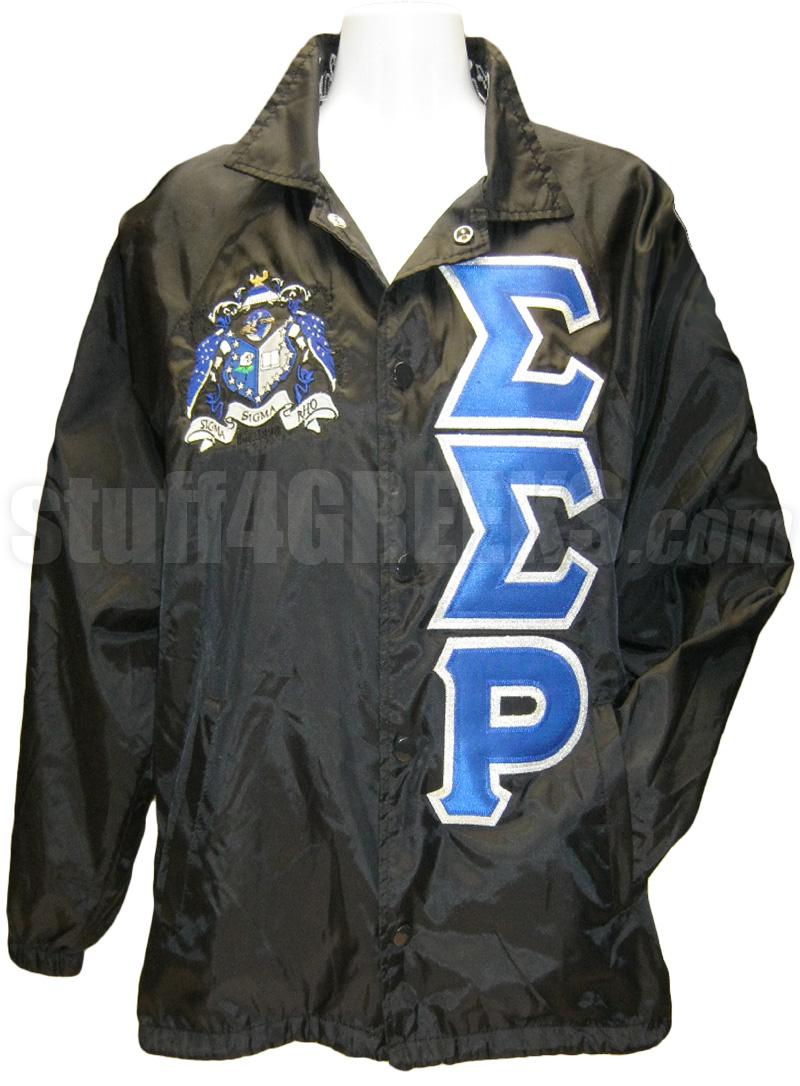sigma sigma rho greek letter line jacket with crest  black
