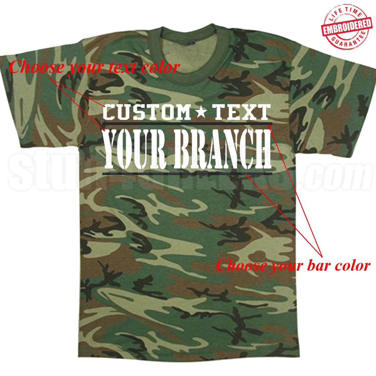 Custom military t shirts embroidered with lifetime guarantee for Custom t shirts and embroidery