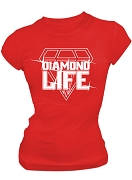 Diamond Life Screen Printed T-Shirt, Red