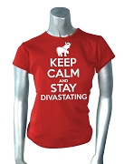 Keep Calm and Stay Divastating Screen Printed T-Shirt, Red