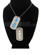 Alpha Delta Pi Double Dog Tags - Double with Founding Year