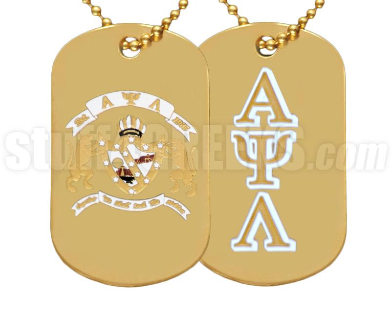 Alpha Psi Lambda Greek Letter Dog Tag With Crest Gold