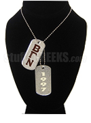 Beta Gamma Nu Double Dog Tags - Double with Founding Year