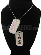 Gamma Phi Beta Dog Tags - Double with Founding Year