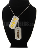 Gamma Phi Omega Fraternity Double Dog Tags - Double with Founding Year