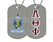 Lambda Theta Phi Greek Letter Dog Tag with Crest