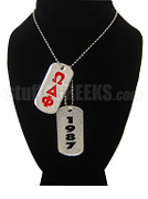 Omega Delta Phi Double Dog Tags - Double with Founding Year