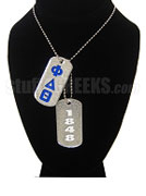 Phi Delta Theta Double Dog Tag - Double with Founding Year