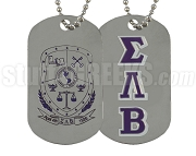 Sigma Lambda Beta Greek Letter Dog Tag with Crest
