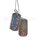 Zeta Beta Tau Dog Tags - Double with Founding Year