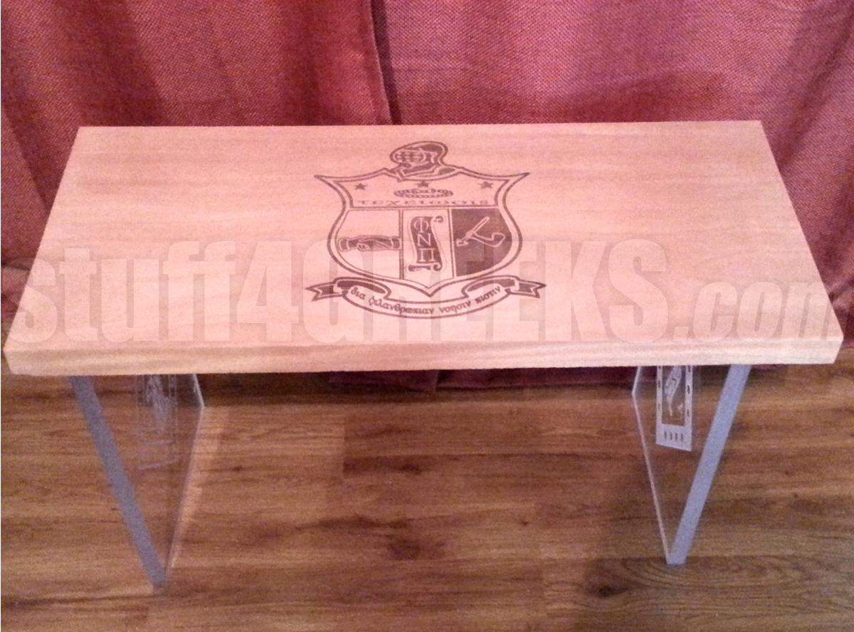 custom engraved wood table with acrylic legs