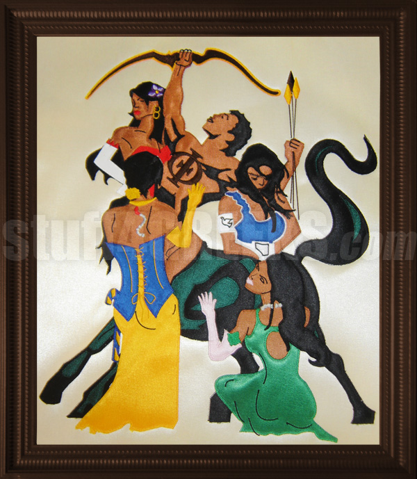 Iota Phi Theta Framed Artwork With Centaur And Ladies