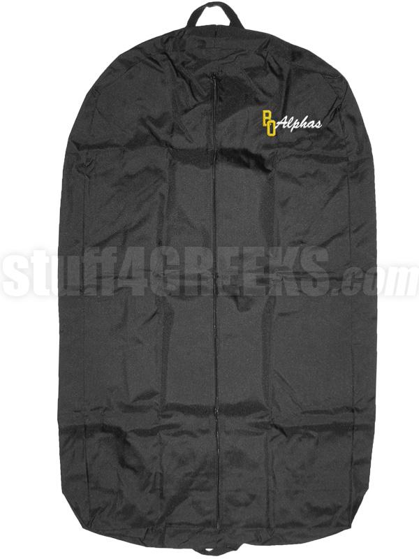 alpha phi alpha garment bag with beta omicron chapter logo  black