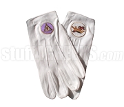 Knights Templar Gloves with Emblem, White