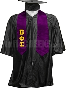 Beta Phi Sigma Satin Graduation Stole with Greek Letters, Purple
